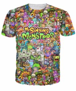 My singing monsters 3D Character Collage t shirt short-sleeved shirt Men