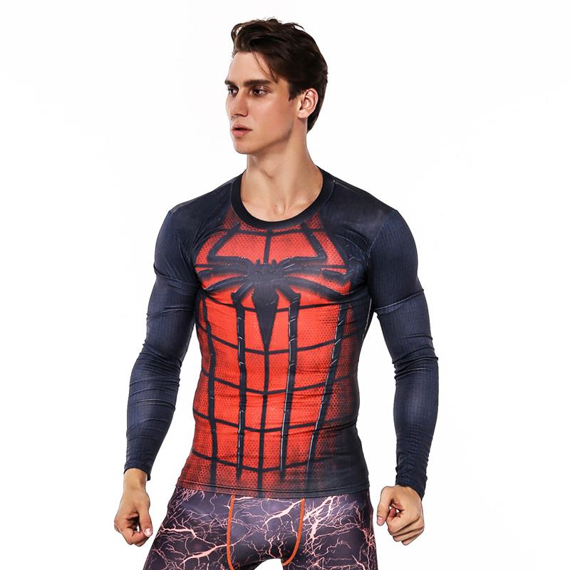 CORDEE Spiderman 3D compression shirts Men's Fitness Superhero Long Sleeve Tops
