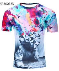 Summer abstract thinker print unisex shirt breathable shirt for men