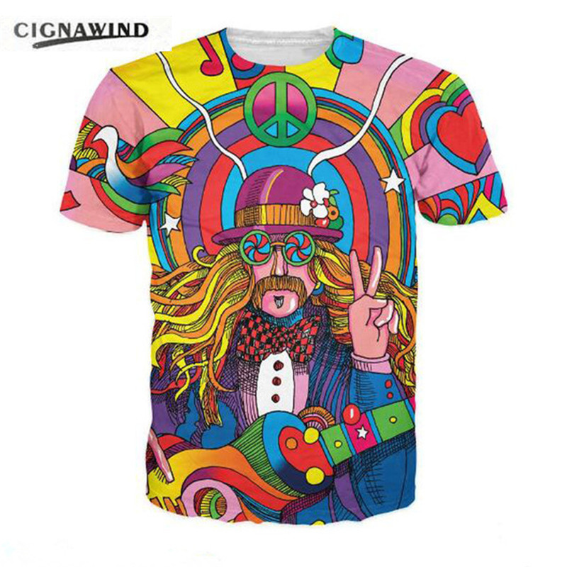 funny hippie wonderful color 3D printing t shirt casual summer style