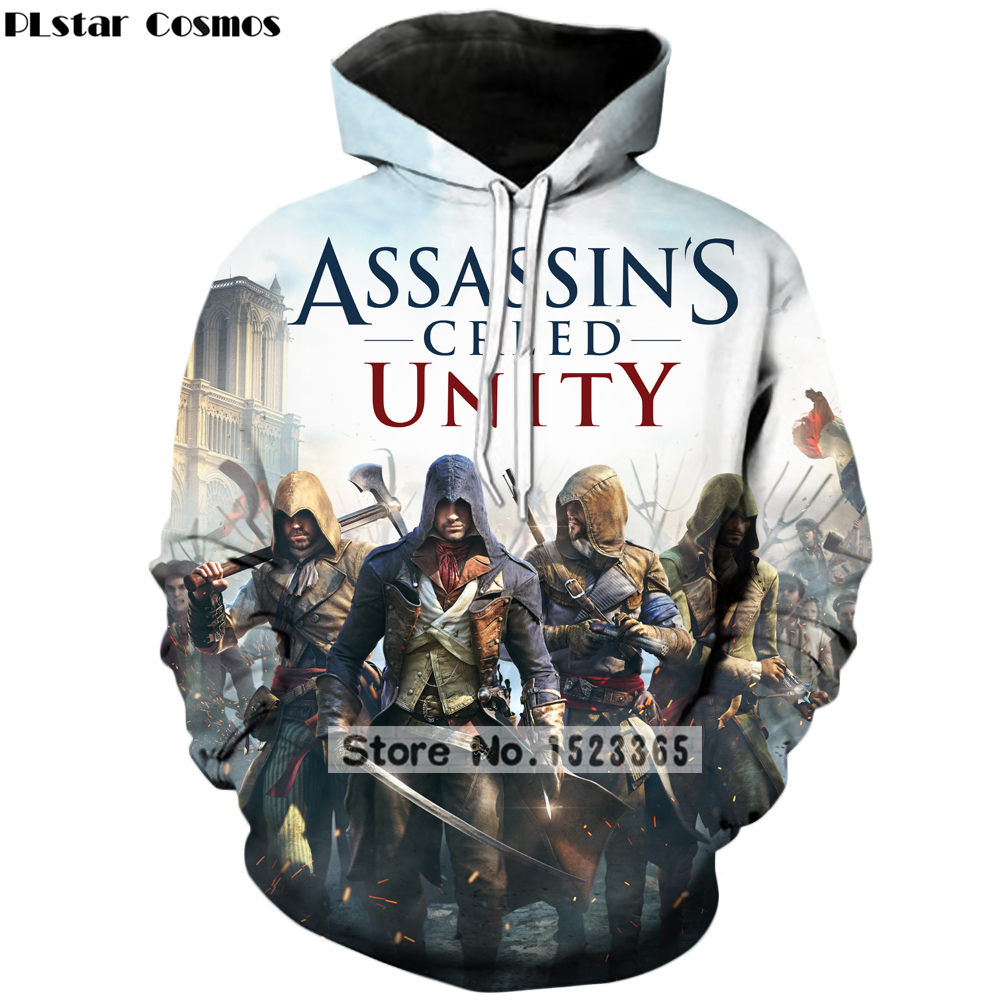 Cosmos clothes 2018 3d games with classic hooded sweatshirt Assassins Creed mens womens
