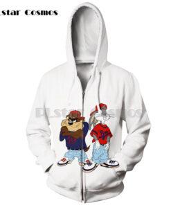 Cosmos bugs bunny Men Women fun 3D printing zipper hooded sweatshirts