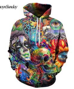 5XL painting 3D Skull Printed Men Sweatshirts Women's Hoodie