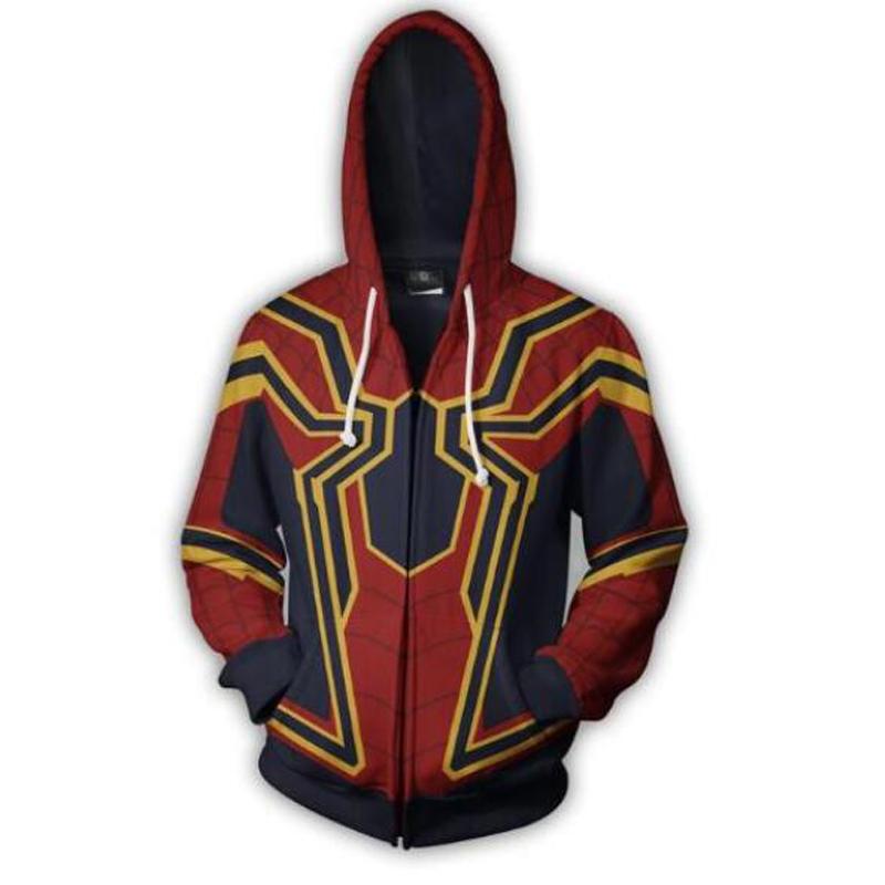 Polyester Infinity War Iron Spider Zip Up 3D zipper hoodies sleeve knit