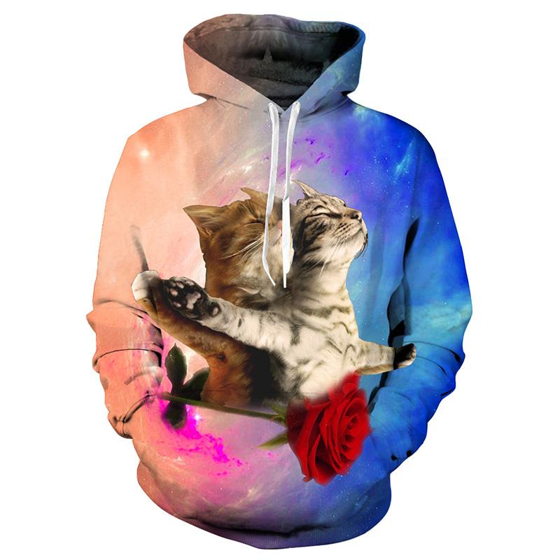 Romantic couple Cats Galaxy 3D Space Flight Print hoodies Men Women