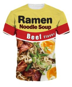 OSO S - XXL 3D Tee shirt Beef Ramen Noodles Print Men Women Tops O-neck
