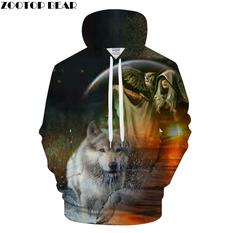 BEAR Sunrize fun 3D hooded sweatshirt wolf Men owl print tracksuit Harajuku
