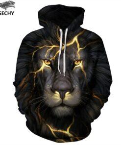 Men / Women 3D printing hooded Gold Lion Lightning hood hooded tracksuits