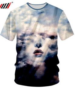 Men's clothing 2018 Printed 3D space cloud punk style casual shirt Shirt Men