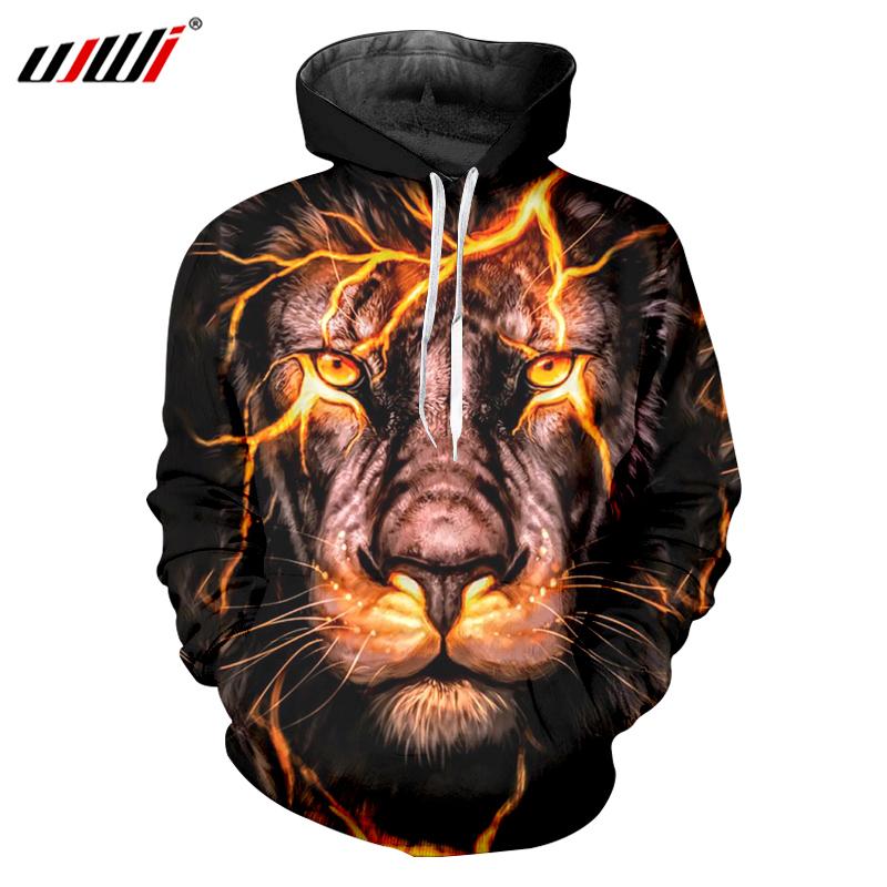 3D printing flash Lion Hoodie Sweatshirt Hip Hop Man Trackusit out