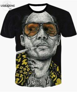 Inking Mens Fear Loathing T-shirt Raoul Duke Johnny Depp tattooed 3d T