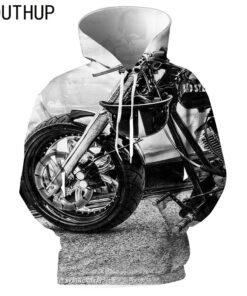 2018 hoodies hooded men print 3D motorcycle Hipster Streetwear
