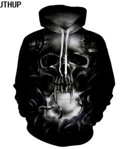 2018 skull hooded sweatshirts 3D printing Hop Hoodies Long Sleeve Men Coat hip