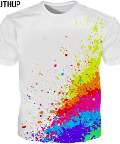 2018 Harajuku 3D shirt for men / women Splash paint color white print Men