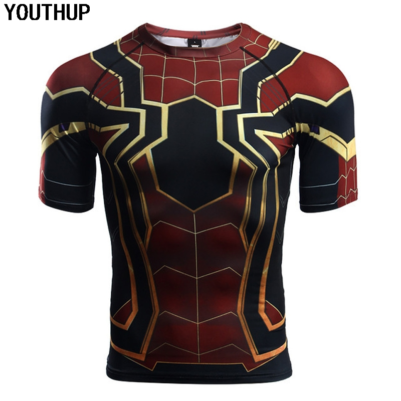 2018 Summer shirts Iron Spiderman 3D Printing Tees Shirt Men's Cosplay