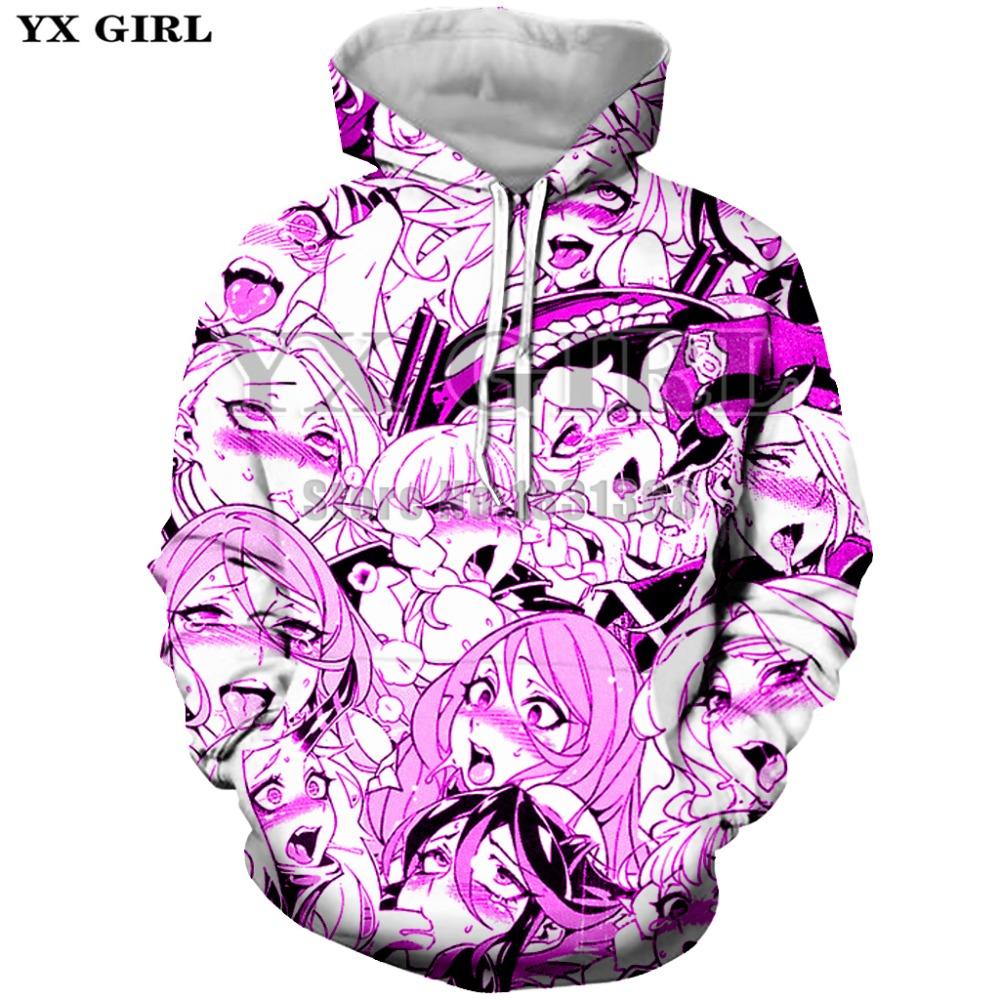 Ahega cosmos yx anime girl ahegao hoodies men / sexy women hoodie shy