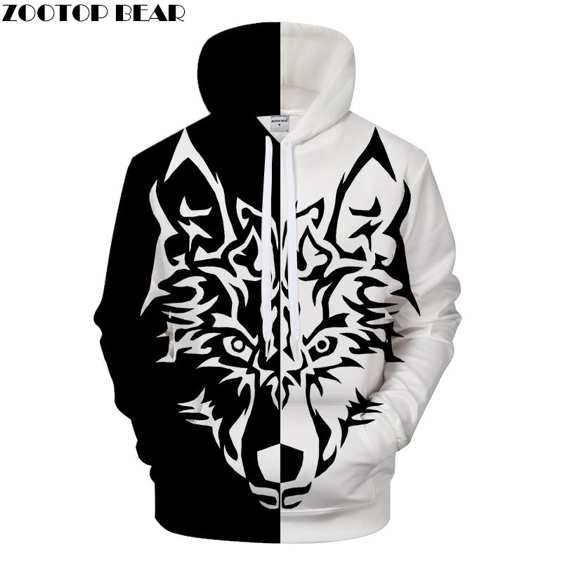 9c2987dc98b4 OSO Yin Yang Men Women Printed hooded sweater double wolf 3D - Wolamola