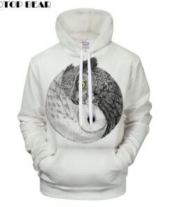 Yang 3D printing white owl hoodies 2018 Men's Clothing Drop Ship ZOOTOP BEAR